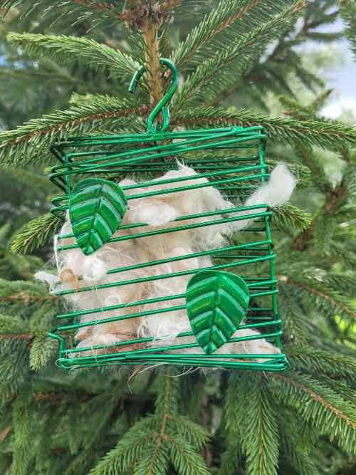 Dog fur in a suet cage hung from a tree