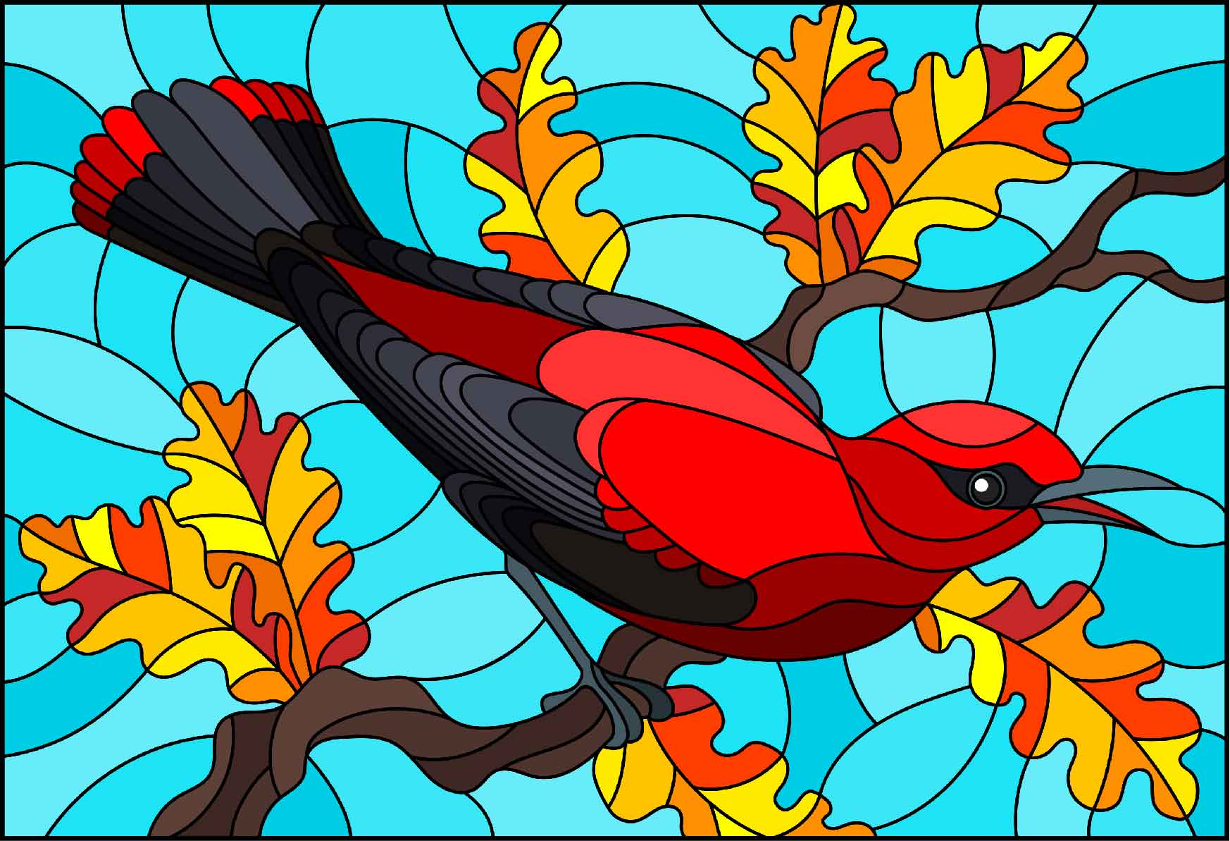 Cardinal image in stained glass window