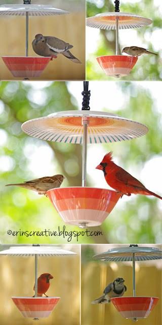 bowl and platter diy cardinal bird feeder