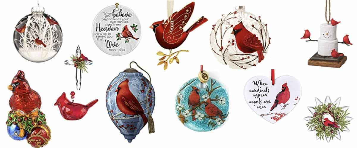 a collection of cardinal ornaments