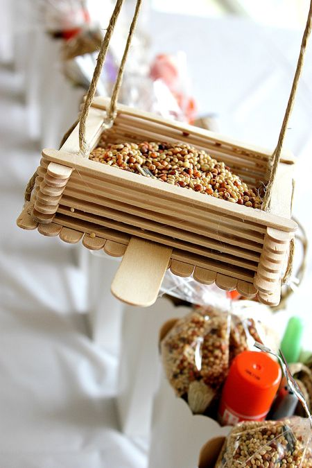 popsicle stick diy cardinal bird feeder